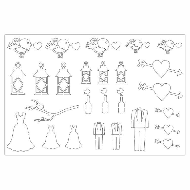 PAP 4005 Figurines silhouettes 'Mariage champêtre'