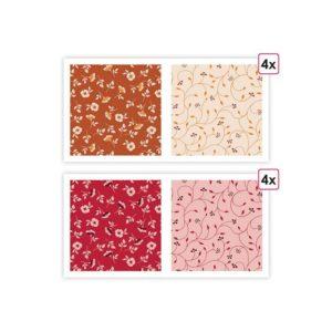 PAP 0069 Papiers imprimés 'Floral' (8f)
