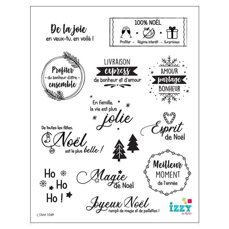 I_TAM 1049 Tampons diamant 'Mini mots sentiments Noël'