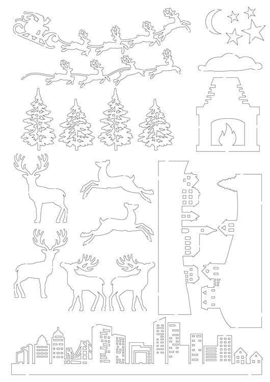 I_PAP 801 Figurines silhouette A4 'Nuit de Noël'