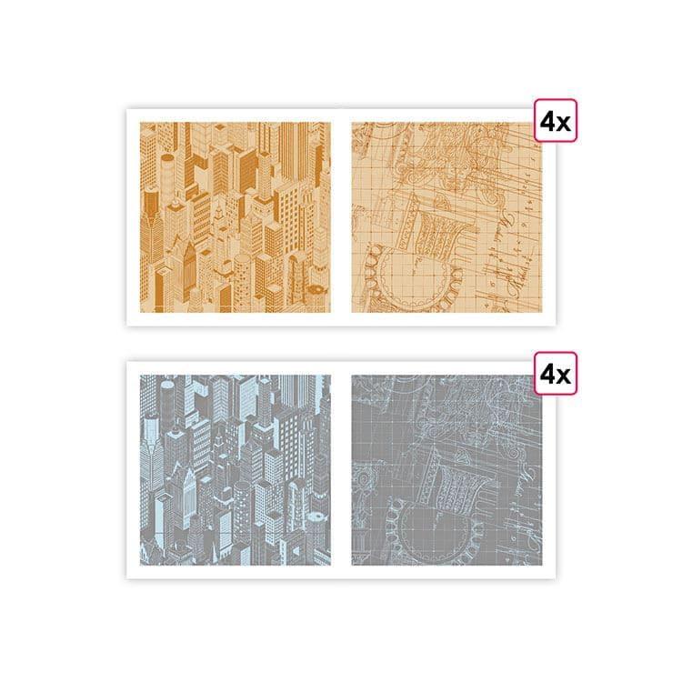 PAP 0202 Papiers imprimés 'Architecture' (8f)