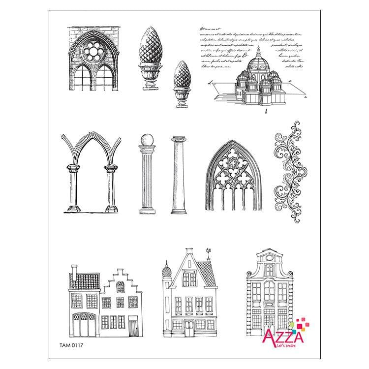 TAM 0117 Tampons diamant 'Architecture ancienne'