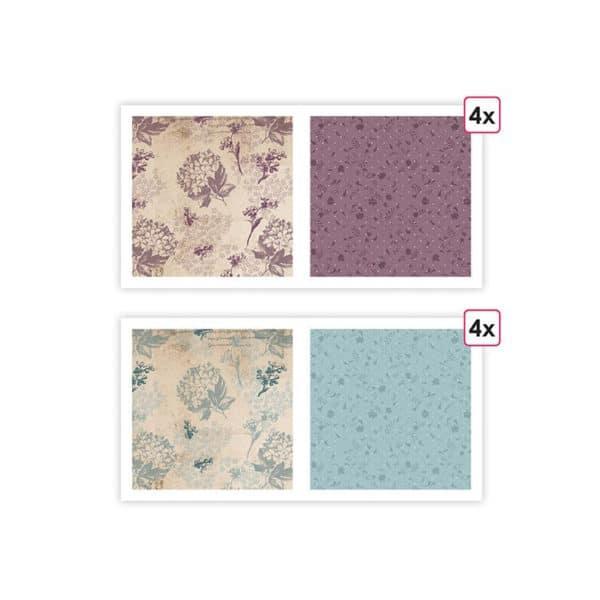 PAP 0208 Papiers imprimés Floral bohème' (8f)