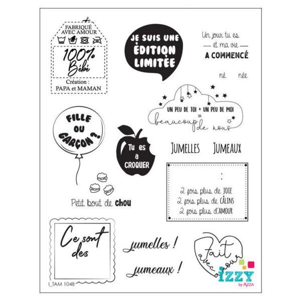 I_TAM 1048 Tampons diamant 'mini mots naissance'